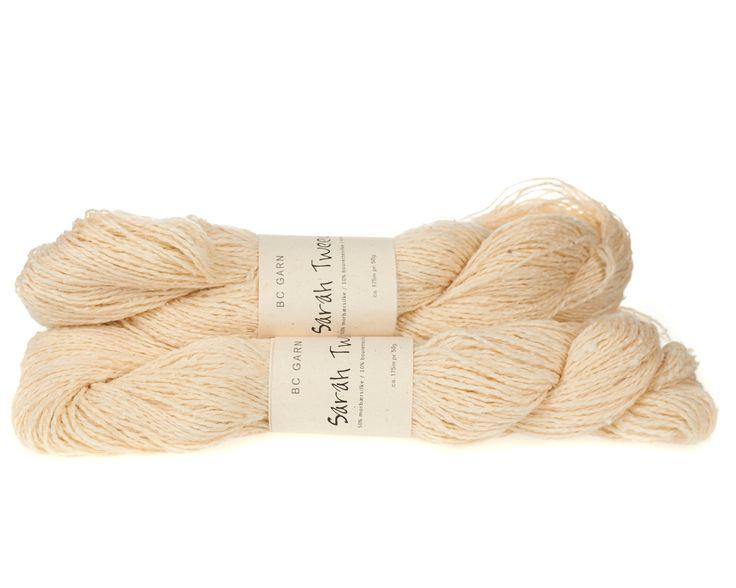 Sarah Tweed lækkert uld / silkegarn - Hvid - 59 kr. per fed á 50 gram