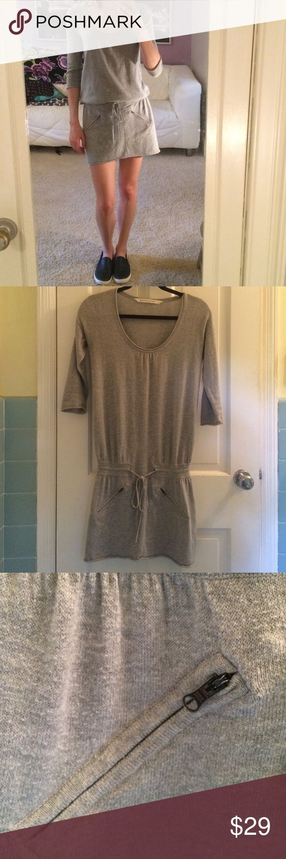 ATHLETA Gray Zipper Tie Dress Grey Athleta T shirt Dress with front zippers. Ties in the front. No odor or holes. Fabric has some wear from being washed. Athleta Dresses Mini