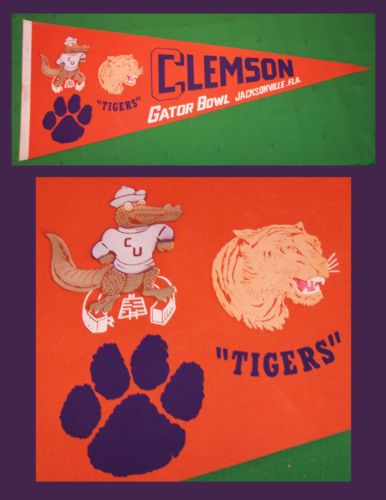 Vintage-Clemson-University-Tigers-Gator-Bowl-Football-Pennant-WOW