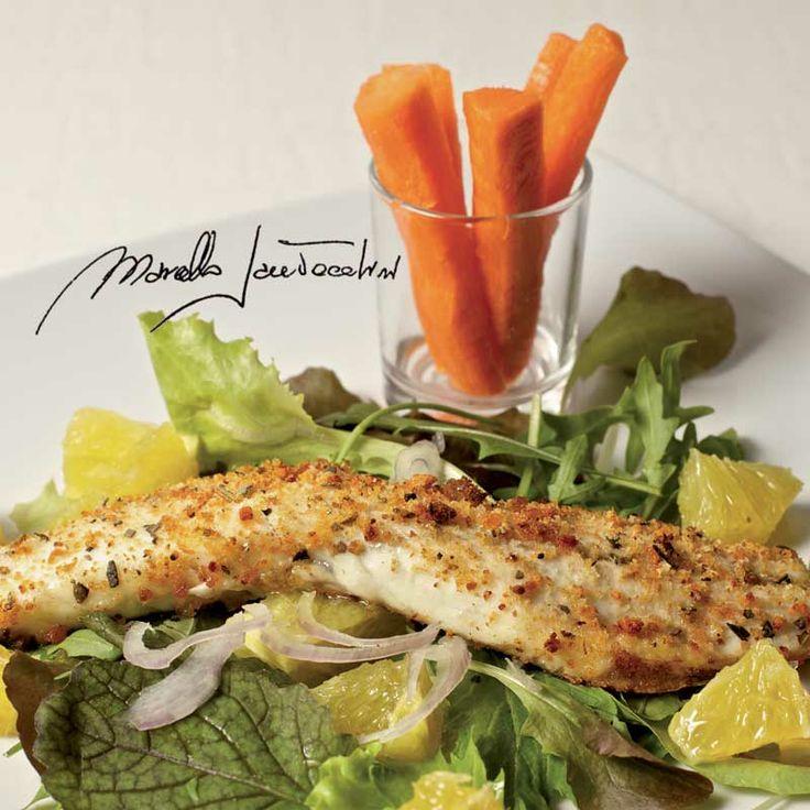 Secondi piatti di pesce falda di branzino gratinata al for Secondi piatti di pesce