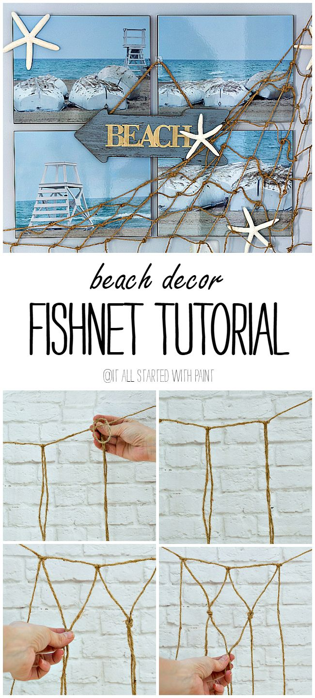 Beach Decor: How to Make Decorative Fishnet This is fantastic! I've been wanting to know how to do this!