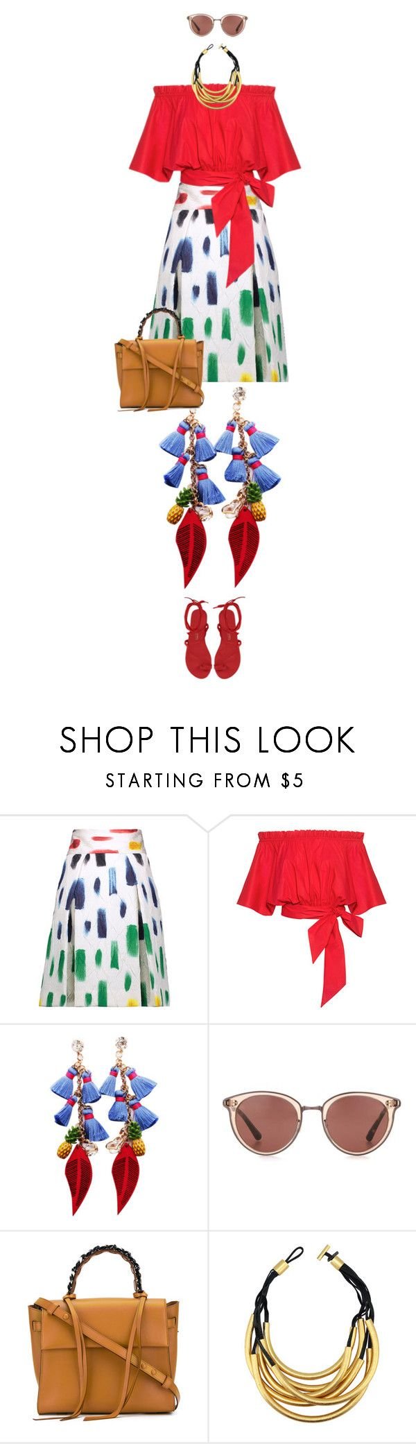 """""""eva 1039"""" by evava-c on Polyvore featuring Milly, Saloni, Oliver Peoples, Elena Ghisellini and Monies"""