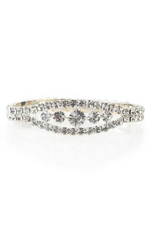 silver rhinestone bracelet with large stone center