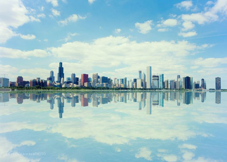 Chicago skyline photography,original art print urban photo mirror picture Illinois wall art sky blue artwork building print turquoise décor by KaleidoscopesPHOTO2 on Etsy