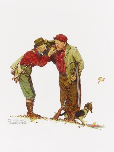 NORMAN ROCKWELL (American 1894 - 1978). Two Old Men and Dog:Hunting, Brown & Bigelow: Four Seasons Calendar, Autumn,19... (Total: 4 Items)