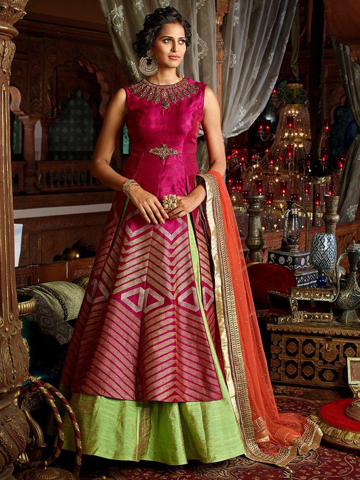 Magenta Raw Silk Embroidered Indo Western Lehenga Choli