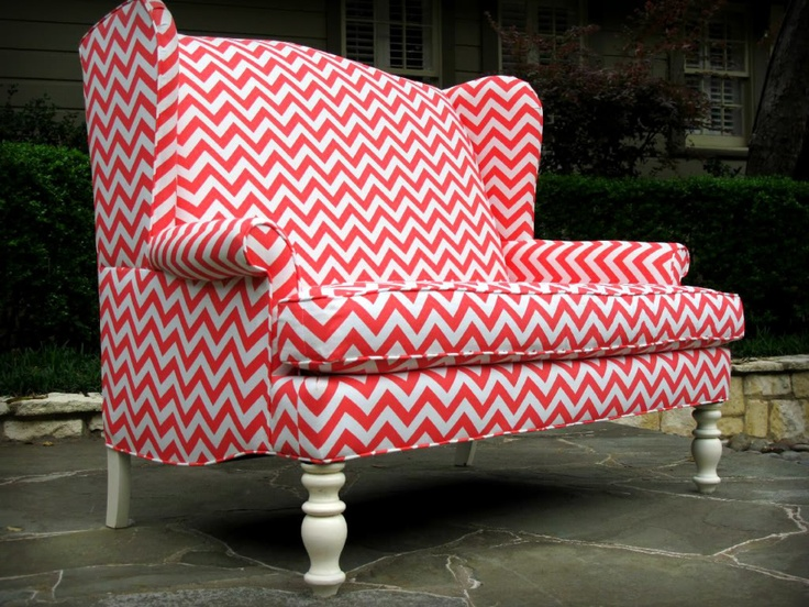 Coral And White Chevron Upholstered High Back Wingback