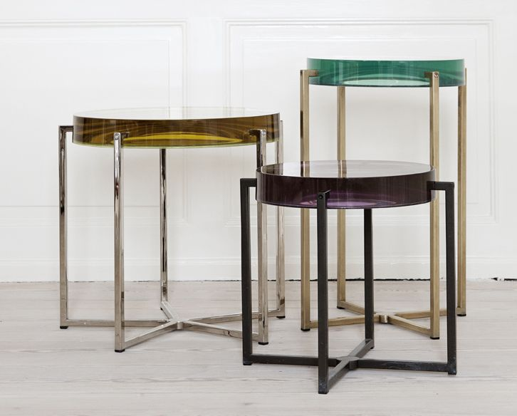 McCollin Bryan, Contemporary, United Kingdom Tinted lens tables with acrylic top available in various colors. Brass, chrome or patinated chrome base.