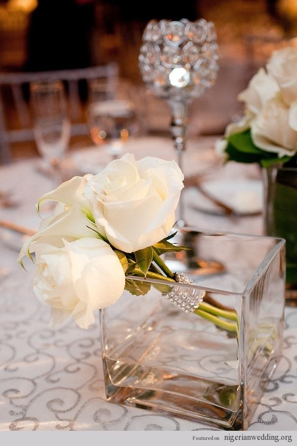 Nigerian wedding centerpiece ideas 20: White Gardens, Centerpieces Ideas, Inspiration, Table Centrepieces, White Roses, Wedding Flowers, Wedding Centerpieces, Nigerian Weddings, Center Piece