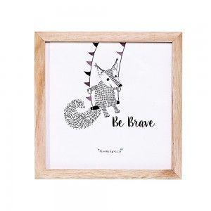 Obrazek w ramce lisek cyrkowiec na trapezie, Be Brave  - Bloomingville