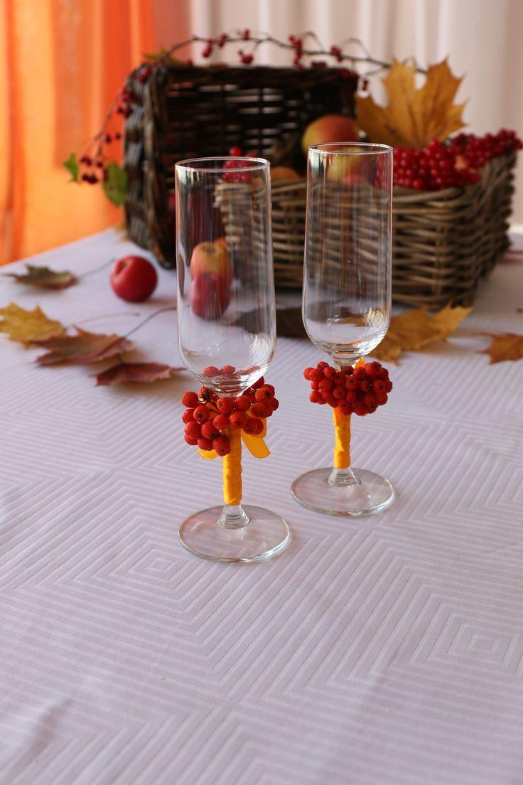 Осенняя свадьба. Бокалы жениха и невесты
