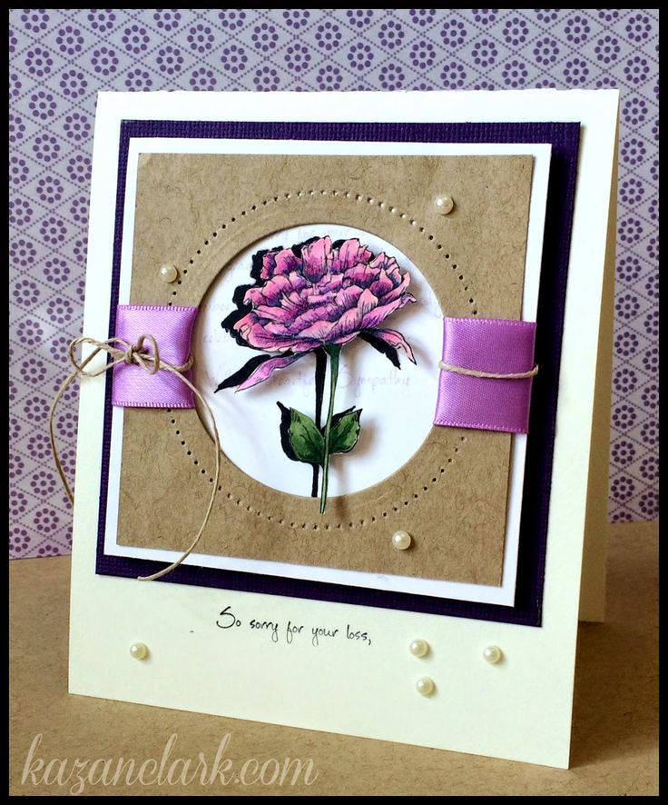 Card Making Ideas With Ribbon Part - 33: I Like The Ribbon Idea Running Through This Circle And Square Card. Nunu  Toolies: With Heartfelt Sympathy