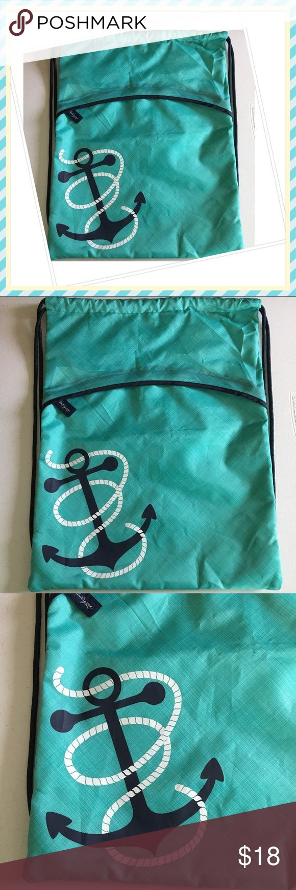 Thirty One Cinch Sack In New new condition; nylon anchor backpack from Thirty-One. Cute lot turquoise, measures 17.5x14.5. Any signs of wear is only because it's been kept away inside a box for a long time. Thirty-One Bags Backpacks