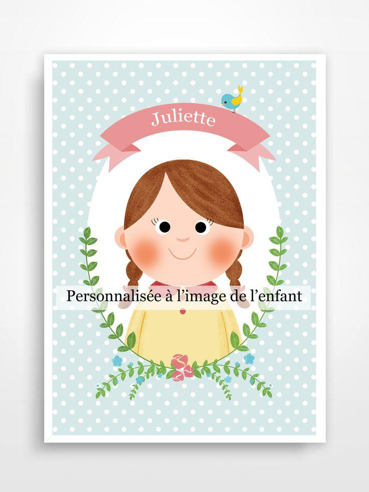 Affiche personnalisée au prénom de l'enfant. : Décoration pour enfants par pagaille-et-cie