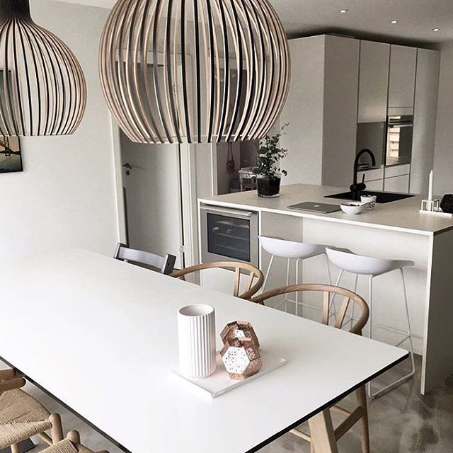 ⠀ // Dining room inspiration / We absolutely love the bar chairs in The kitchen  / Want to share your home with other Nordic interior lovers? / Tag your photo with #mynordicroom //⠀ Photo credit: @kamillawn .⠀ .⠀ .⠀ Don't miss out on your daily Nordic interior design inspiration! Follow us on Facebook  / Link in bio