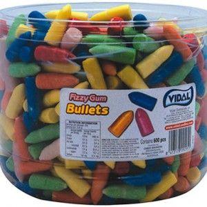 A bulk tub of Vidal Fizzy Gum Bullets.