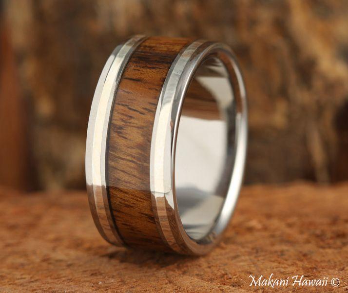 10mm Titianium Koa Wood Inlaid Mens Wedding Band