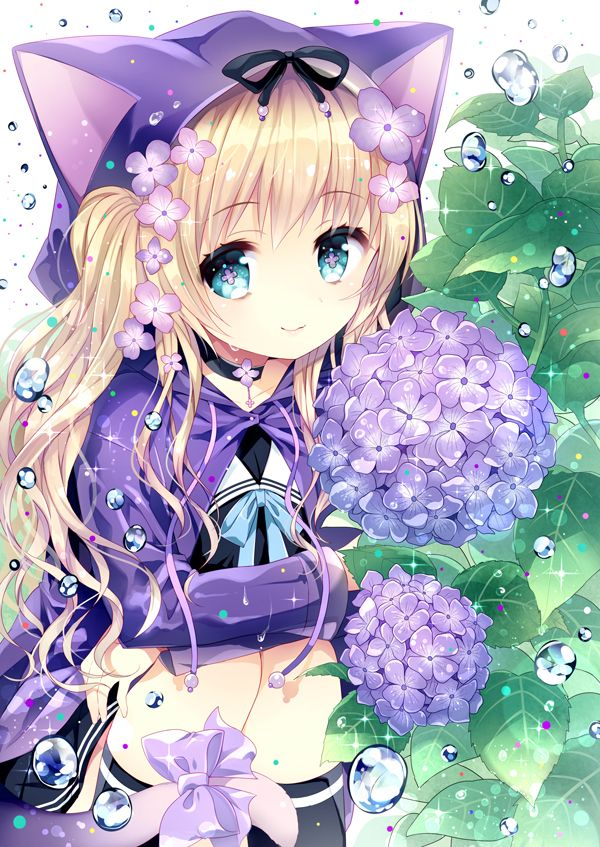✮ ANIME ART ✮ neko. . .nekomimi. . .cat ears. . .hood. . .raincoat. . .raindrops. . .sparkling. . .ribbons. . .long hair. . .flowers. . .cute. . .kawaii