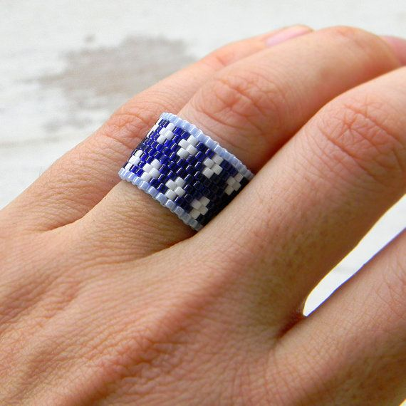 Dark blue and white ring peyote ring beaded ring by Anabel27shop