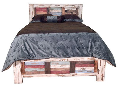 Rustic Rough Cut Multi Color Louvered King Size Bed