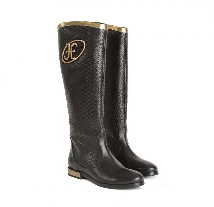 Fabi Стильные кожаные сапоги с золотистым декором от бренда Fabi