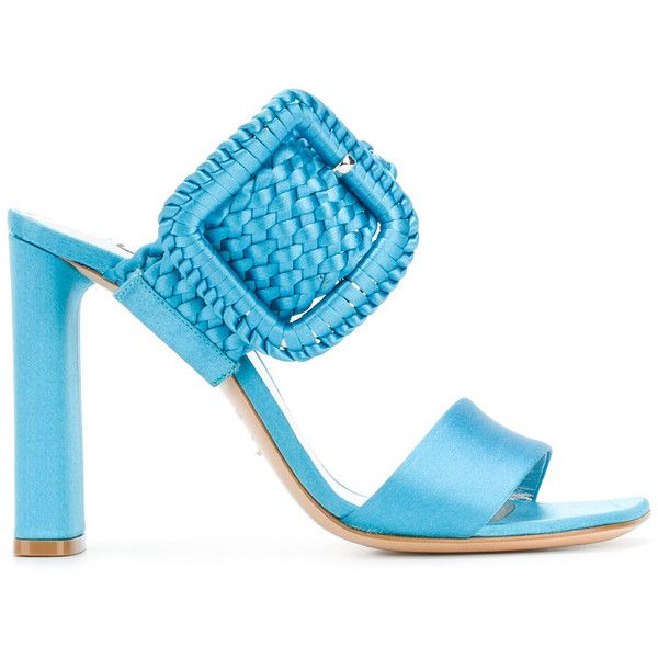 Casadei woven buckle heeled sandals ($690) ❤ liked on Polyvore featuring shoes, sandals, blue, leather shoes, braided sandals, open toe shoes, leather heeled sandals and blue shoes