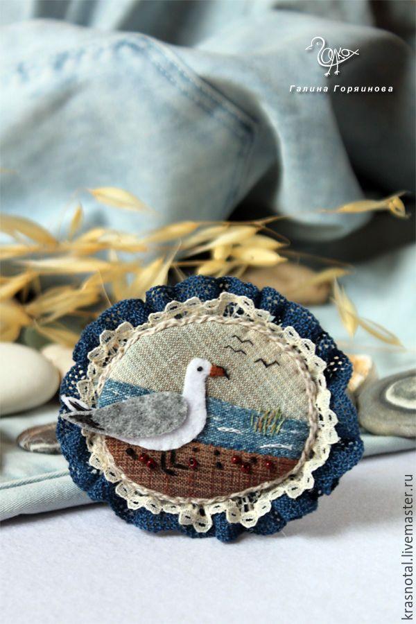 "Вышитая бохо брошь ""Чайка"" textile brooch, embroidery, fabric bird brooch, gull brooch"