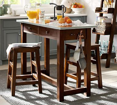 Counter Height Kitchen Tables Small Spaces : Balboa Counter-Height Table Stools #potterybarn For a vanity with a ...