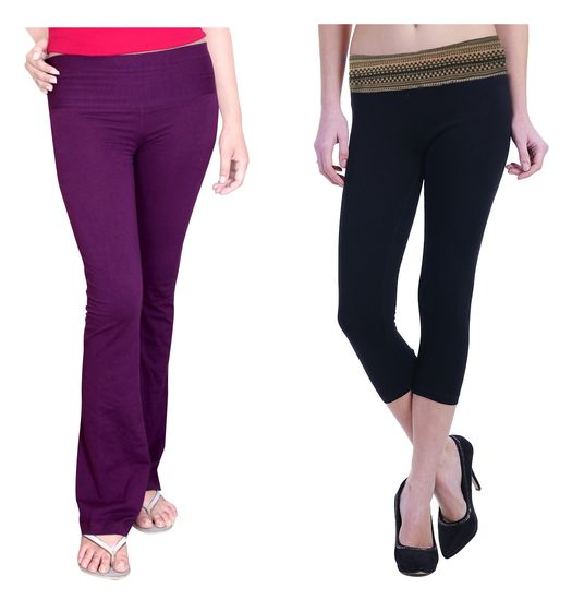 Comfty Purple Yoga Track Pants With Comfty Printed Waistband Capri - COMFTY Women trouser