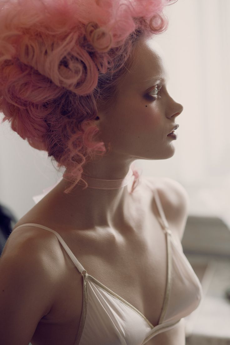 Kimberley Gordon photography, fashion editorial, campaign whimsical new faces and story telling, fairytale components, dreamy happy makeup and hair, exiled queens, God Save Queens. Marie Antoinette style, marquis de sade inspired. Pink hair forever