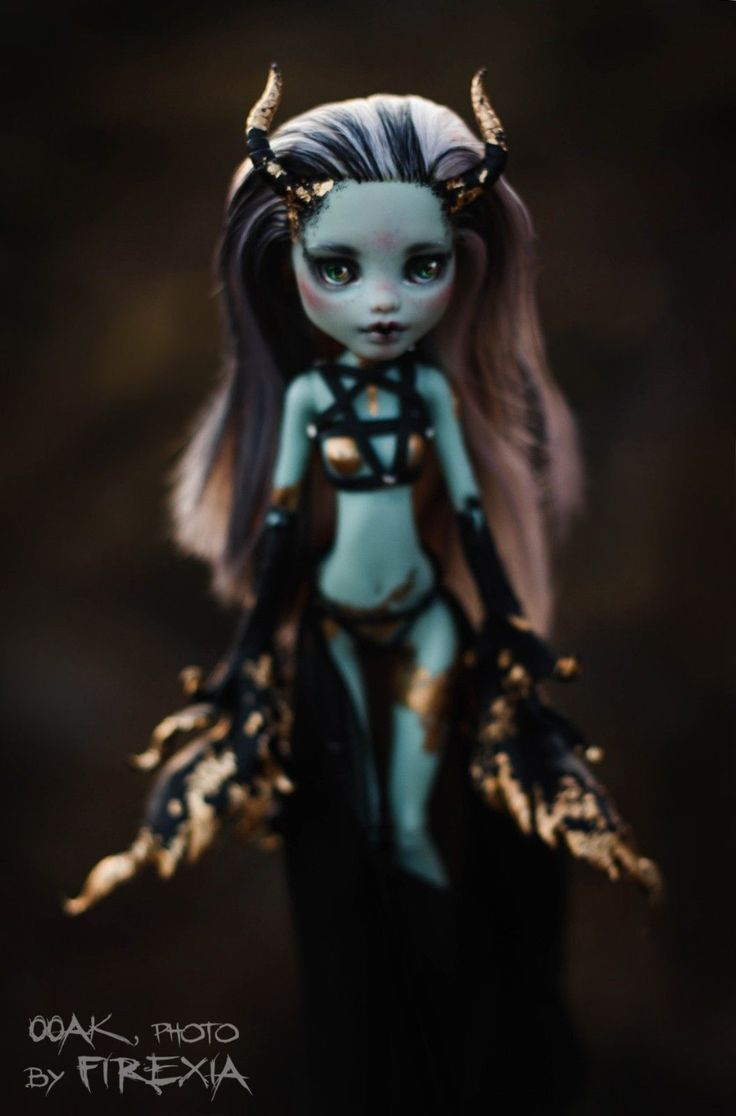Gothic Demon OOAK Repaint Custom Art Doll by Firexia Monster High Frankie Stein   eBay
