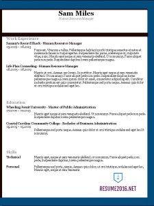 Chronological Resume Format 2016