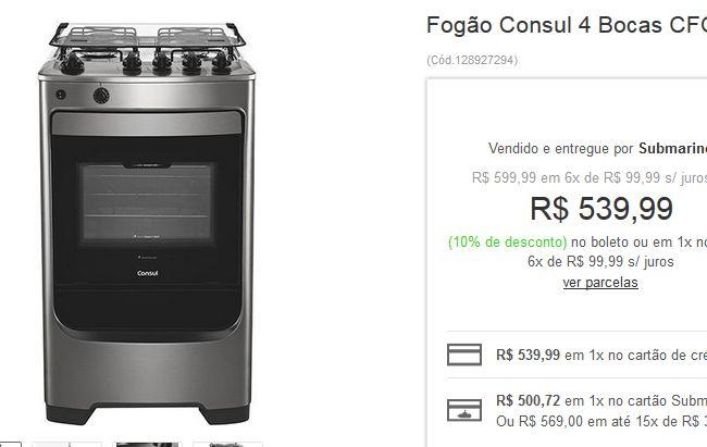 Fogão Consul 4 Bocas CFO4MAR Inox com Timer Analógico << R$ 53999 >>