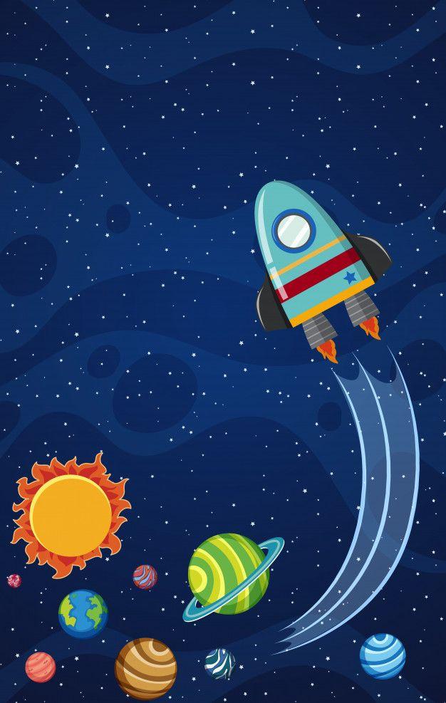 Tema De Fundo Do Espaço Com Foguete Voando à Noite Fondos Del Espacio Dibujos Del Espacio Planeta Dibujo