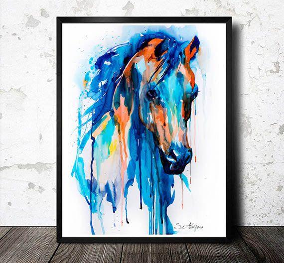 Impression de peinture aquarelle, Horse art, art animalier, portrait aquarelle, animaux illustration impression, animal de cheval, peinture de cheval