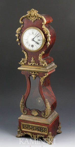 """French Miniature Clock Shreve Crump and Low, boulle with ormolu mounts, 19""""."""