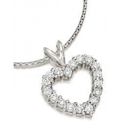 Pandantiv Aur Alb 18kt cu Diamante Rotund Briliant Asezate in Forma de Inima - RDP040W