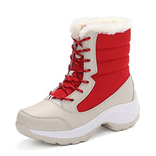 Saguaro Womens Snow Boots Winter Faux Fur Lined Thick Sole Shoes Red Size 7