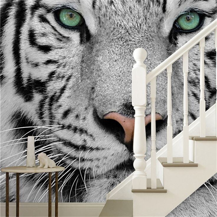 Free shipping Photowall white Tiger black and white animal 3d wallpaper murals living room bedroom TV back PW155276551