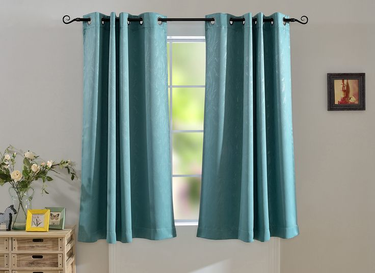 MYSKY HOME Grommet Blackout Leaf Embossed Window Blackout Curtain Panel for Kids Bedroom, 52 by 63 inch, Teal(1 panel)