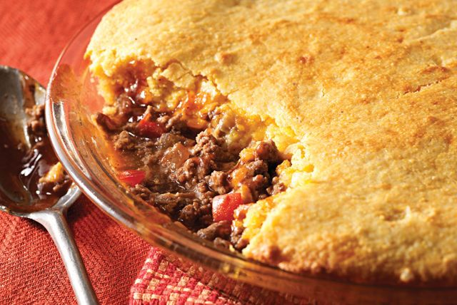 Meet your family's new favorite meat pie—made with ground beef, cheddar and BBQ sauce and baked until the cornbread topping turns golden brown.