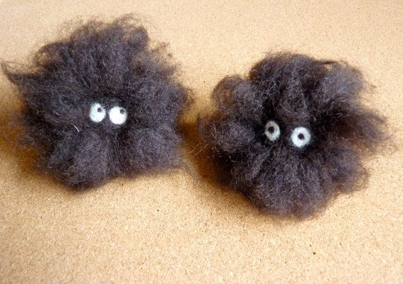 needle felted soot sprites studio ghibli by WoodlandFeltCrafts, €16.00