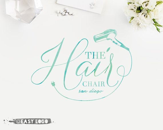 beauty salon logo design custom stylist business branding handwritten watercolor logo premade watermark