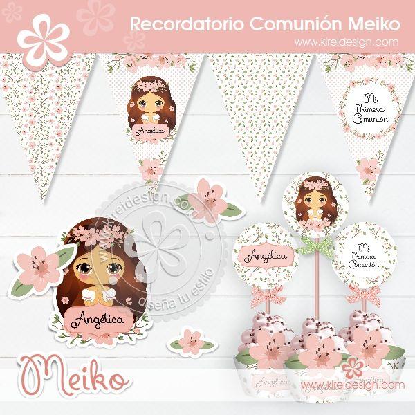 Kit imprimible primera comunion Meiko by Kireidesign