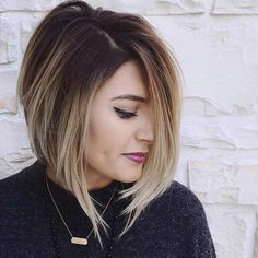 Short A-Line Bob Hairstyle + Blonde Balayage Highlights