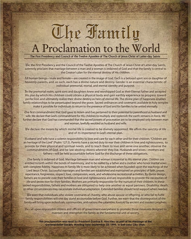 The Family - A Proclamation to the World (8x10 Printable)  Feel free to Download and Print Please Share with your Friends!