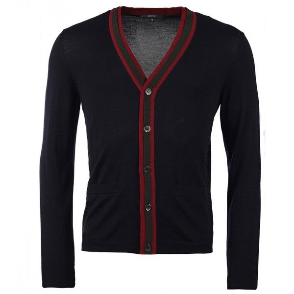 Gucci Ink Blue Wool Cardigan With Web Detail ($695) ❤ liked on Polyvore featuring men's fashion, men's clothing, men's sweaters, gucci mens sweater, mens ribbed sweater, mens blue sweater, mens cardigan sweaters and mens wool sweaters