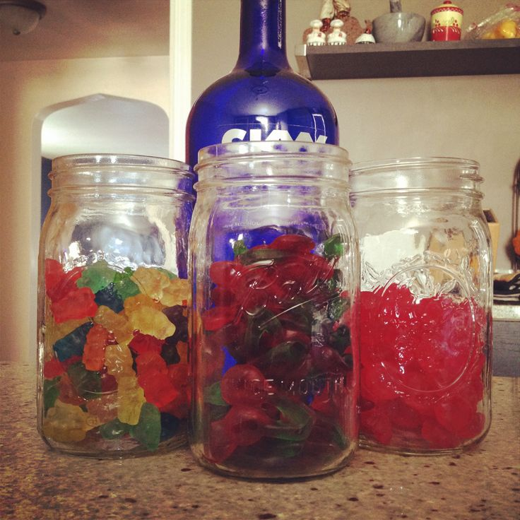 Vodka Soaked Gummy Bears. Soak gummy bears in vodka for a minimum of 3 days. Much cuter than a jello shot!