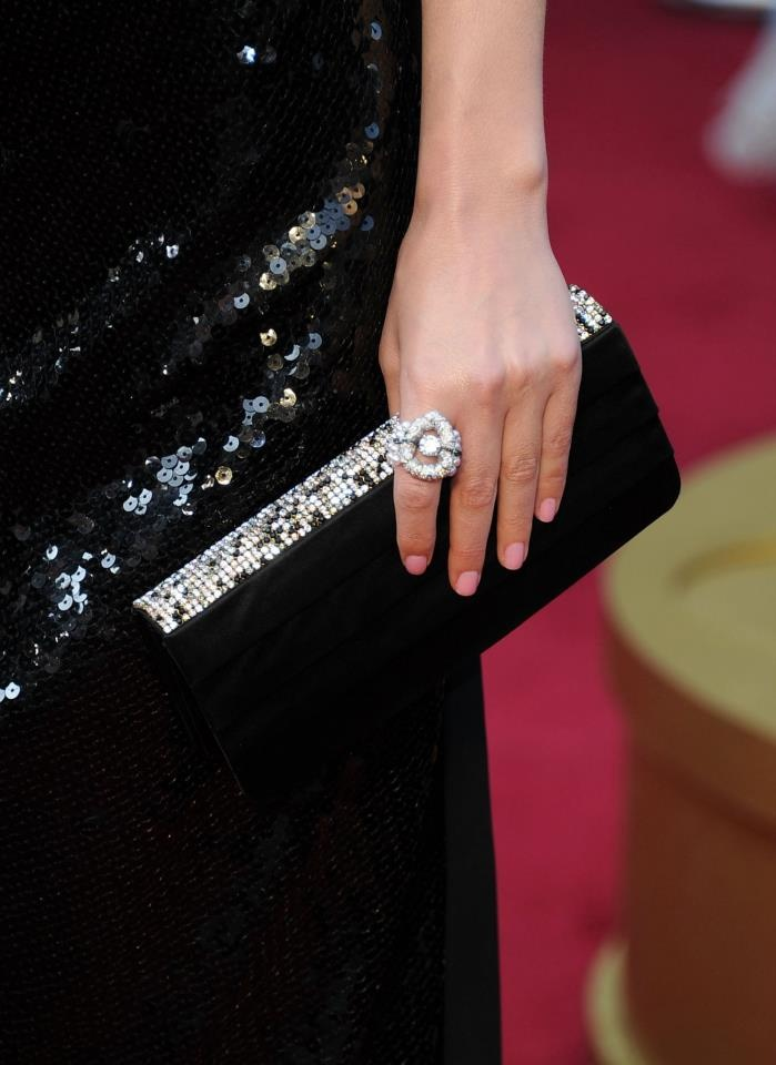 """Chanel's """"Nuage de glace"""" ring in white gold, pearls, black & white diamonds; as seen at the Academy Awards 2012"""