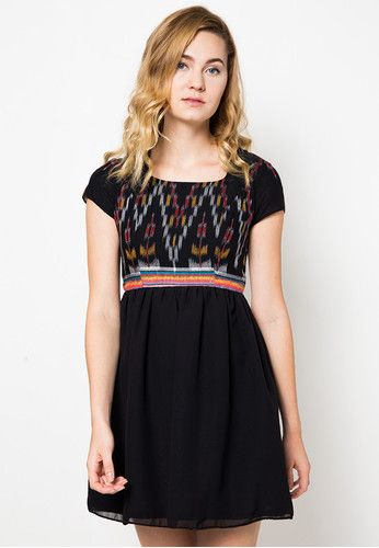 Rawni Ikat Black Dress Dhievine is now available at zalora.co.id